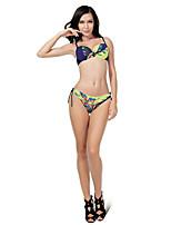 Mulheres Biquíni Cores Contraste/Floral Nadador Com Aro Elastano Mulheres