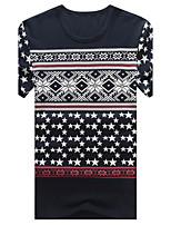 T-shirt Uomo Casual/Taglie forti Con stampe Manica corta Cotone/Elastene