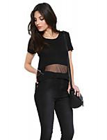 High Street Fashion Bottom Mesh Patchwork Short Sleeve O Neck Solid Black Girl Sexy T Shirt