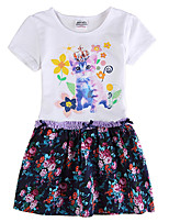 Girl's White Dress Floral Skirt Children Dresses(Random Printed)