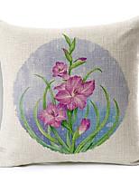 Country Purple Flowers Patterned Cotton/Linen Decorative Pillow Cover