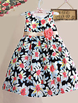 Girls Fashion Flower Print Party Pageant Baby Kids Clothing  Dresses (100% Cotton)