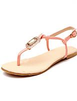 Chaussures Femme - Habillé - Noir / Rose / Beige - Talon Plat - Salomé - Sandales - Similicuir