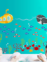 Wall Stickers Wall Decals Style Cute Cartoon Marine Submarine Whale PVC Wall Stickers