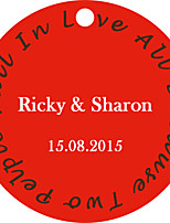 Personalized Circular Wedding Favor Tags - Fall In Love Design (Set of 36)