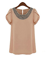 Women's Casual Plus Sizes Inelastic Short Sleeve Long Blouse (Chiffon)