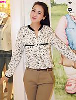 FOREVER LOVE®Women's Blouse V-neck  Print Chiffon Long Sleeve Shirt Tops