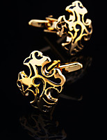 Toonykelly® Fashion Gold and Silver Plated Black Enamel Handsome Shirt Cufflink(1 Pair)