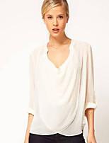 Women's White/Black Blouse Long Sleeve