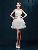 Cocktail Party Dress - White Plus Sizes Ball Gown Strapless Short/Mini Lace