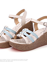 Women's Shoes Calf Hair Wedge Heel Creepers Sandals Casual Blue/Yellow/Pink