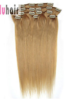 20inch (50cm) 8pcs 100 gram Clip in on Real Remy Human Hair Extensions Color #27