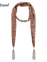 D Exceed  Women Fashion Yellow Leopard Round Dot Pattern Chiffon Scarves with Pendant Silver Tassel Jewelry Scarfs