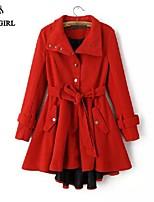 LIVAGIRL®Women's Coat Fashion Slim Long Sleeve Irregularity Woolen Over Coat Korean Style Winter Cold-proof Outwear