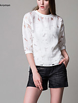 Women's Round Collar Sexy Hollowed-out Micro-elastic ¾ Sleeve Asymmetrical Design Blouse (Cotton Blends)