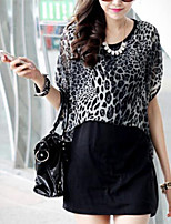 Women's Leopard Black T-shirt , Round Neck Short Sleeve