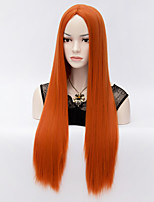 European and American Wind Orange Points in Long Straight Hair Wig
