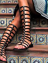 Flacher Absatz - Kunstleder - FRAUEN - Kniehohe Stiefel - Modische Stiefel - Stiefel ( Schwarz )