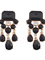 Women's European Style Fashion Geometry Droplets Resin Drop Earrings With Rhinestone