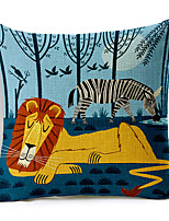 Stylish Cartoon Lion Patterned Cotton/Linen Decorative Pillow Cover