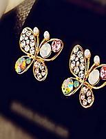 Women's Borboleta Diamantes Alloy Stud Earrings With Rhinestone