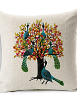 Country Trees in Bottle Patterned Cotton/Linen Decorative Pillow Cover