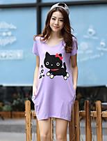 Women's Cute/Work/Plus Sizes Micro-elastic Short Sleeve Long T-shirt (Cotton)