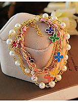 Artistic Pearl Women Golden Alloy Charm Bracelet