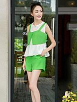 Women's Organza Green Sleeveless