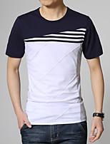 Men's Fashion Stripe Spell Slim Short Sleeved T-Shirts