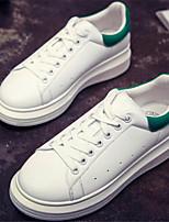 Zapatos de mujer - Tacón Plano - Punta Redonda - Sneakers a la Moda - Casual - Semicuero - Negro / Rojo