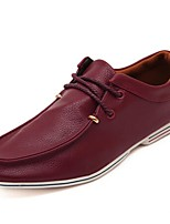 Men's Shoes Outdoor/Casual Leather Oxfords Black/Burgundy