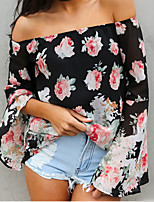 Women's Sexy Off The Shoulder Floral Print Flare Sleeve Chiffon Blouse