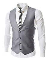 Men's Casual/Work/Formal Pure Sleeveless Regular Vest