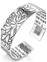 Women's White Lotus And Zang Language Silver Cuff With Bracelet