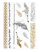 10sheets  Gold and Sliver Butterfly Flower Tattoo Sticker 21*14.5CM