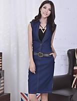 Women's Bodycon/Casual Denim Sleeveless Knee-length Dress