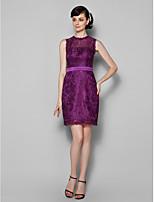 Homecoming Knee-length Lace Bridesmaid Dress - Grape Sheath/Column Jewel