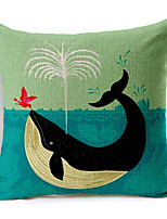 Stylish Cartoon Whale Patterned Cotton/Linen Decorative Pillow Cover