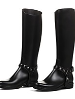 Women's Shoes PVC Chunky Heel Rain Boots Round Toe Boots Casual Black