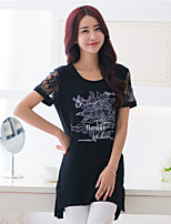 BIAOSHANG®Women's Print Lace Plus Sizes Micro-elastic Short Sleeve Long T-shirt (Cotton)