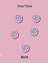 B629 7mm*7mm 10pcs/pack Silver Pink Round Alloy 3D Nail Jewelry Tiny Clear Glitter Rhinestones Decoration DIY