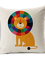 Modern Style Cartoon Lion Patterned Cotton/Linen Decorative Pillow Cover