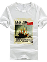 Men's Casual Plus Sizes Print Short Sleeve Regular T-Shirt (Cotton)