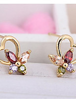 Women's Fashion Heart Color Butterfly Design Stud Earrings