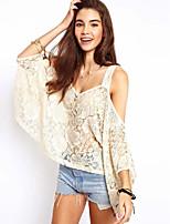 Women's Sexy Lace Cute Inelastic Short Sleeve Regular Shirt (Lace)