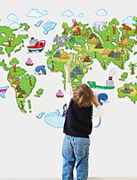 pegatinas de pared Adhesivos de pared, los dibujos animados mapa del mundo pegatinas de pared de pvc