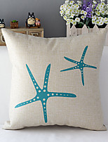 Country Style Sea Star Patterned Cotton/Linen Decorative Pillow Cover