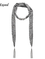 D Exceed  Women Sexy Fashion Round Dot Pattern Chiffon Scarves with Pendant Silver Tassel Jewelry Scarf
