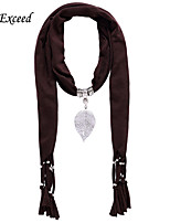 D Exceed  Women Fashion Polyester Solid Color Scarves with Alloy Hollow Out Leaf Pendant Brown Tassel Jewelry Scarfs